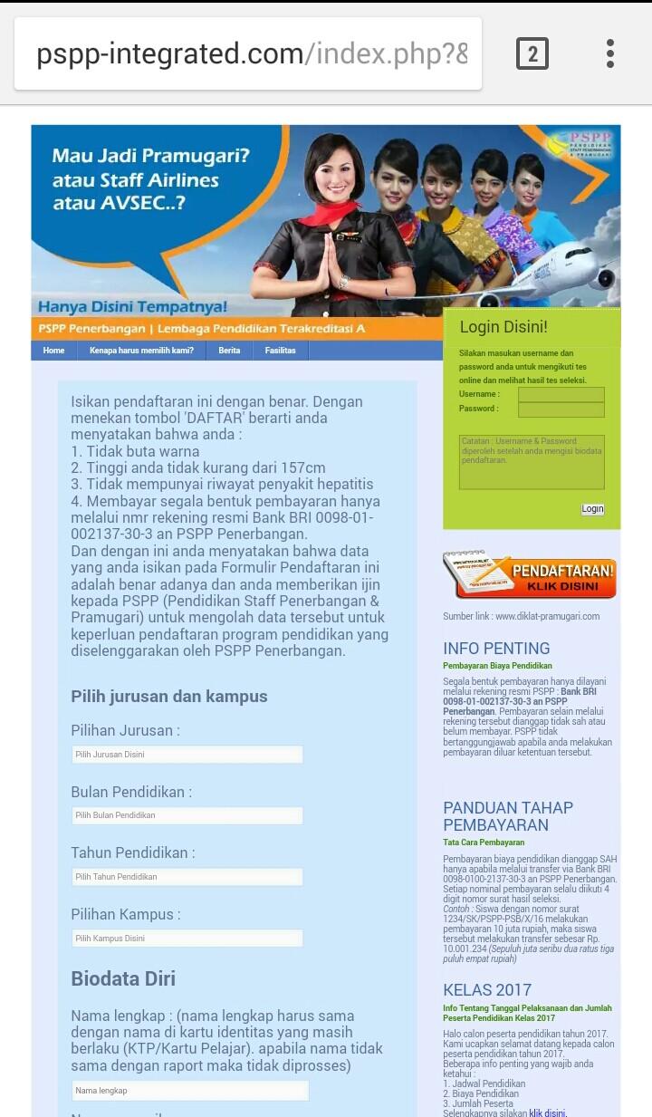 Isi formulir pendaftaran pspp